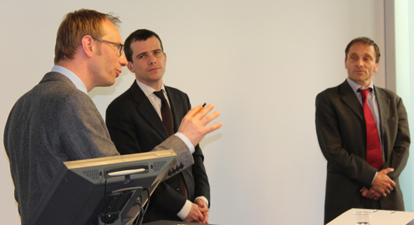 Avenir Suisse's 7th Annual Workshop on Competition Policy; Samuel Rutz, Johannes Reich und Oliver Stehmann (from left to right)