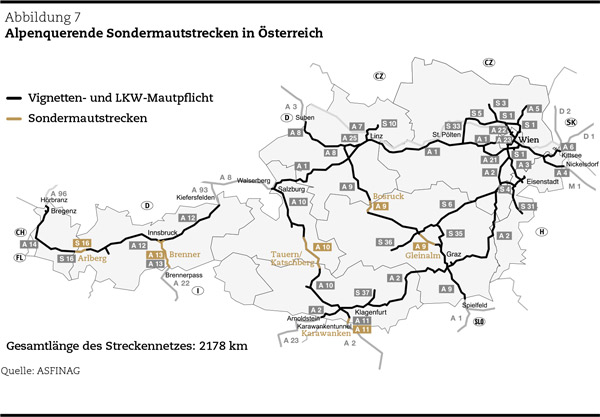 Alpenquerende Sondermautstrecken in Österreich