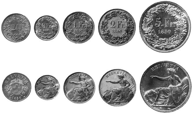 Schweizer Münzen sind seit dem 19. Jahrhundert im Umlauf. Das hat Seltenheitswert und ist das Resultat einer stets mit Bedacht geführten Geldpolitik. (Bild: Wikimedia Commons) _ Illustrationsbild zu Vollgeld-Blog