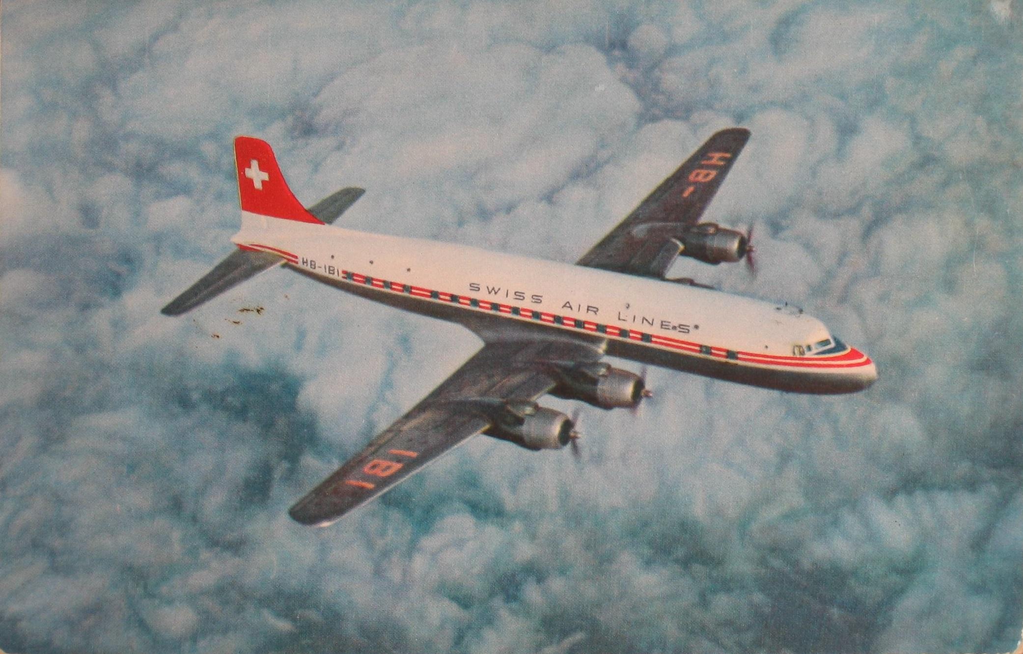Transantlantic DC-6 B della Swissair. (ETH-Bibliothek Zürich, Archivio fotografico / Fotografo: Swissair Photo AGETH-Bibliothek Zürich, Archivio fotografico / Swissair Photo AG)