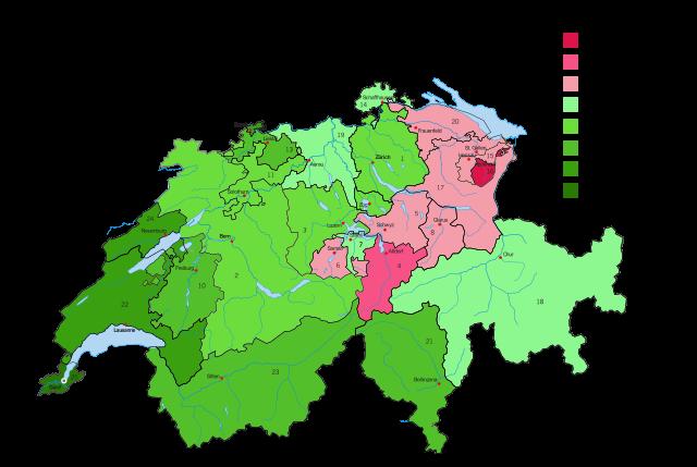 Ergebnisse der eidgenössischen Volksabstimmung zur Einführung des Frauenstimmrechts in der Schweiz vom 7. Februar 1971. Quelle: Wikimedia Commons