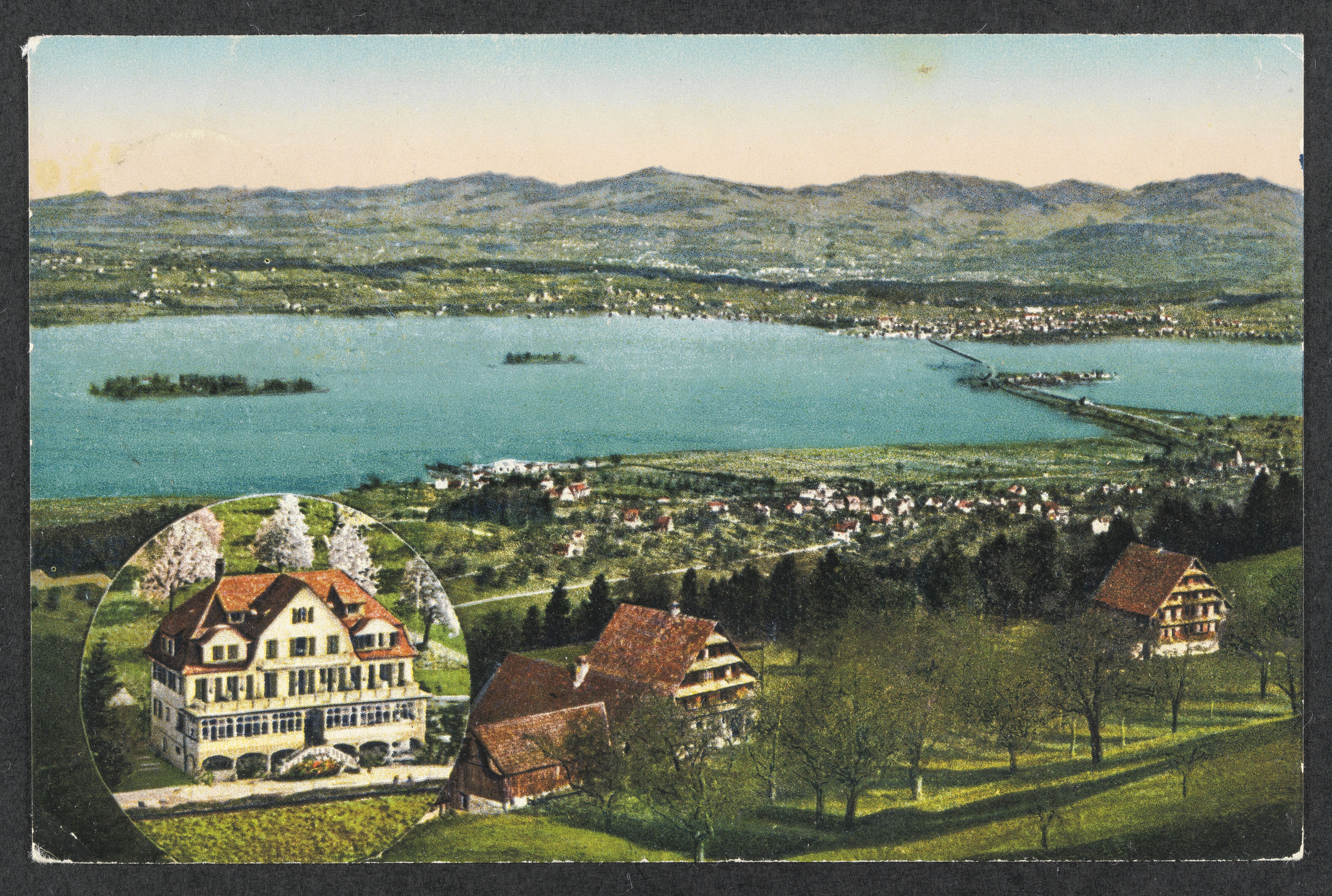 Erholung mit schöner Aussicht muss finanzierbar sein: Postkarte aus dem Jahr 1926 vom Feusisberg. (ETH Bildarchiv)