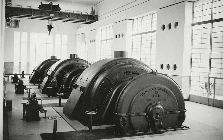 Schweizer Mythos: Turbine eines Walliser Kraftwerks in einer historischen Aufnahme aus den 1920er-Jahren. (ETH-Bibliothek, Bildarchiv)