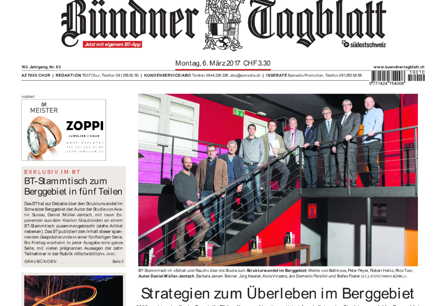 Ausschnitt der Frontseite der «Bündner Zeitung» zum Start der Artikelserie über den Strukturwandel im Berggebiet. (pd)